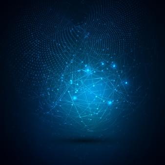 Abstrakcyjne tło technologia globalna z łączących się kropek