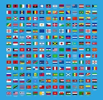 Abstrakcyjny świat ustawia wektor flag