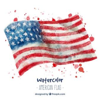 Akwarela amerykańskie flagi