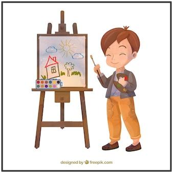 Akwarela artysty chłopca