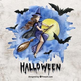 Akwarela czarownica halloween