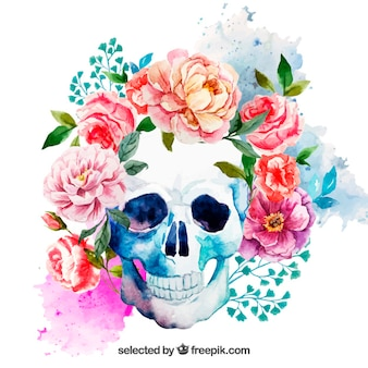 Akwarela Czaszka z kwiatami