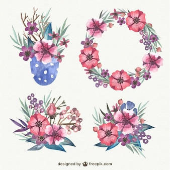 Akwarela elementy kwiatowe spakować