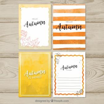 Akwarela jesienią kolekcji kart z nowoczesnym stylu