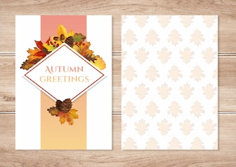 Akwarela jesieni pozostawia zaproszenie szablonu karty