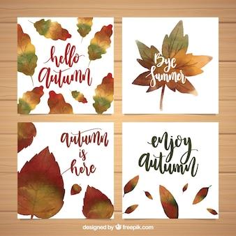 Akwarela kolekcji jesiennych kart