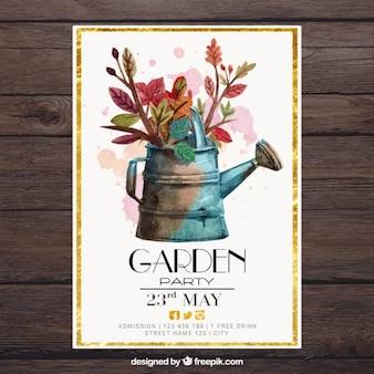 Akwarela konewka z kwiatami w ogrodzie karty partii