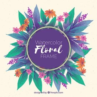 Akwarela kwiatu ramki z kolorowym stylu
