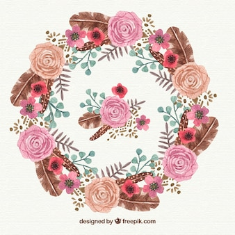 Akwarela kwiatu ramki z róż i liści