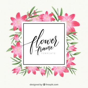 Akwarela kwiatu ramki z tropikalnym stylu