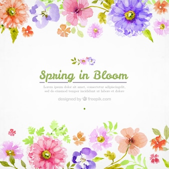 Akwarela kwiaty tło wiosna