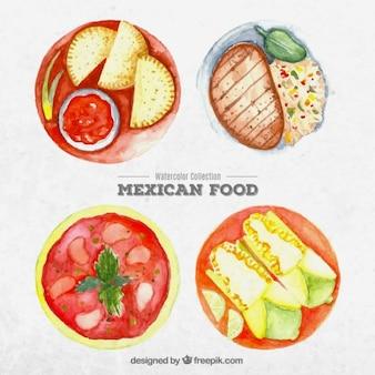 Akwarela meksykańskich potraw żywności