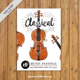 Akwarela muzyki klasycznej ulotki ze skrzypcami
