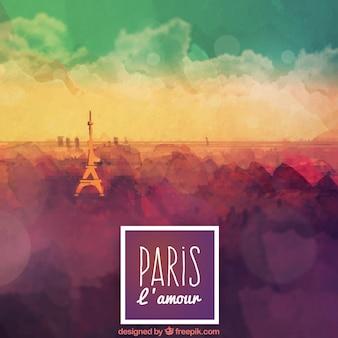 Akwarela Paryż w tle
