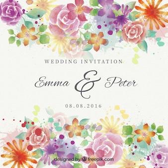 Akwarela piękne kwiaty zaproszenia ślubne