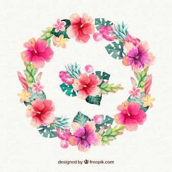 Akwarela ramki z kolorowych kwiatów