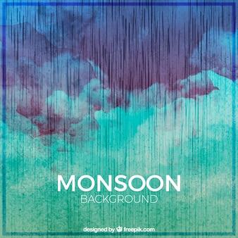Akwarela streszczenie tle monsunu