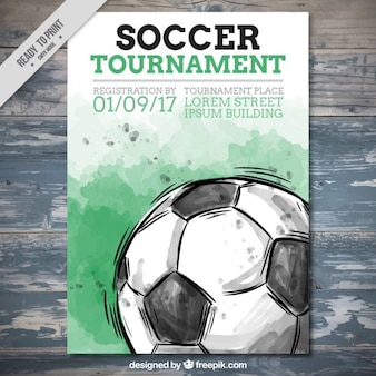 Akwarela turniej piłki nożnej ulotki
