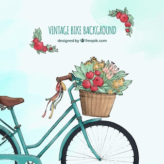 Akwarela vintage rower z kwiatami