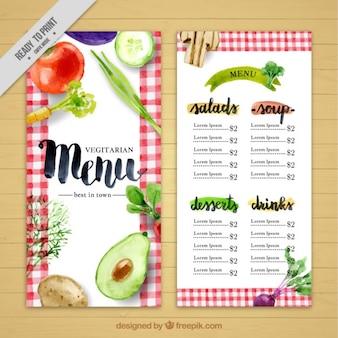 Akwarela wegańskie menu restauracji