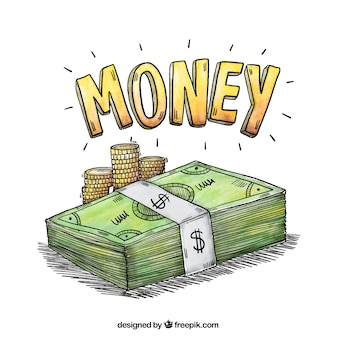 Akwarela z banknotów i monet