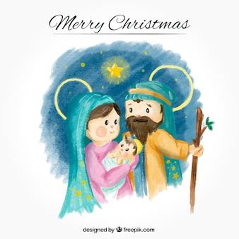 Akwarela z pięknym narodzin Jezusa