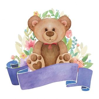 Akwarela zabawki opatrzone kwiatem wystrój i baner