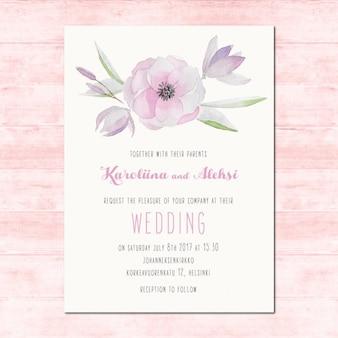 Akwarela zaproszenia ślubne