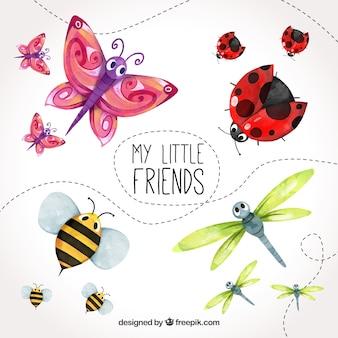 Akwarela zestaw cute owadów