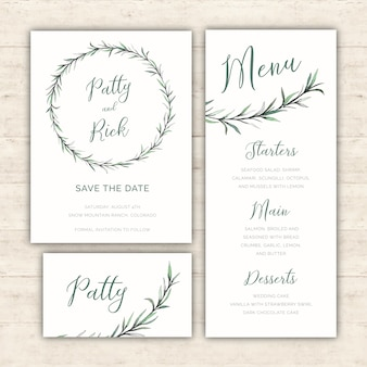 Akwarela zielony pakiet ślubu