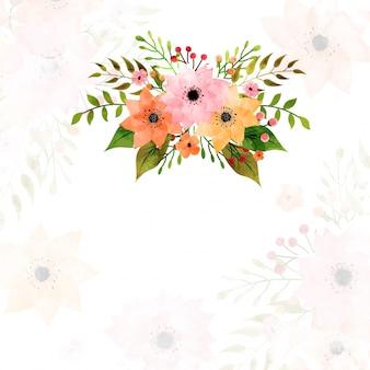 Akwarele kwiaty zdobione tle.