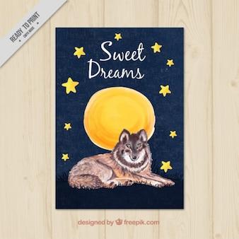 Akwarele ręcznie malowane karty słodkie sny
