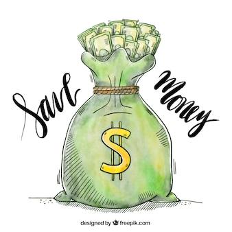 Akwarele tła worek pełen pieniędzy