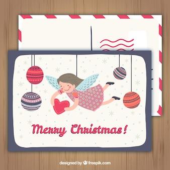 Angel i bombki Christmas Card