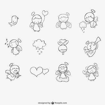 Anioły uroczy zestaw rysowane ręcznie