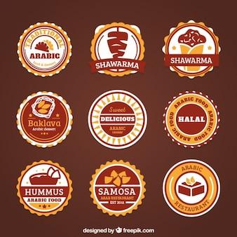 Arabskie dekoracyjne etykiety żywności