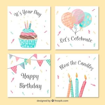 Archiwalne Akwarele urodziny karty z pozdrowieniami