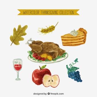 Asortyment dziękczynienia akwarela żywności
