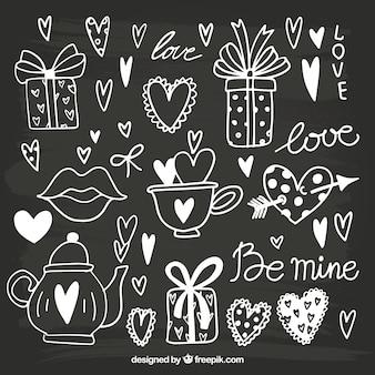 Asortyment dziennie obiektów Ręcznie rysowane Walentego