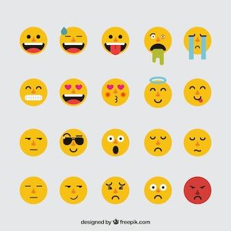 Asortyment fantastycznych płaskich emotikonów