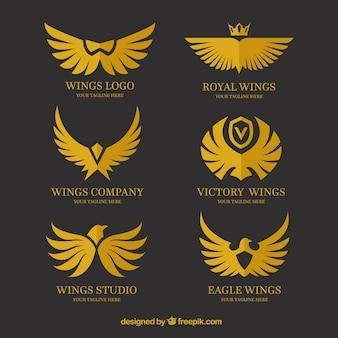 Asortyment logosów z różnymi skrzydłami