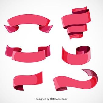 Asortyment sześciu czerwonych wstążek