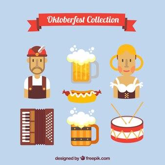 Asortyment tradycyjnych elementów Oktoberfest