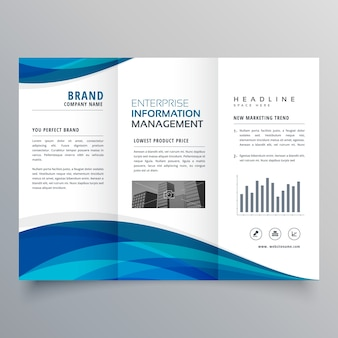 Błękitna fala trójwymiarowa broszura biznesowa szablon projektu