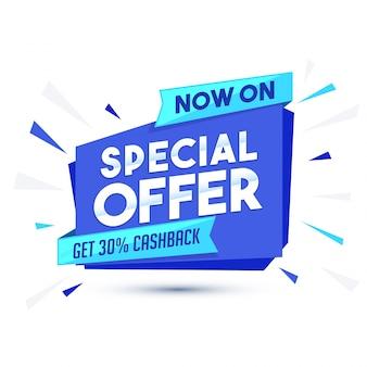 Błękitny papier baner lub znacznik oferty sprzedaży specjalnej.