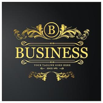 B Logo firmy. Nowy Kreatywny Projekt Złote Kwiaty. Styl Kreatywności. Cel biznesowy. Czarne tło.