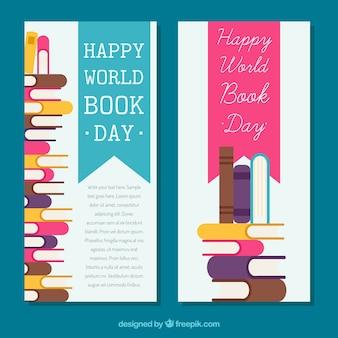 Banery Światowego Dnia książki w płaskiej konstrukcji