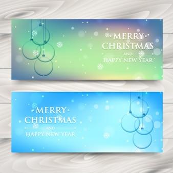 Banery Boże Narodzenie z bombkami krystalicznie