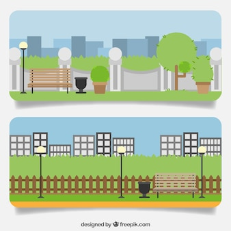 Banery parków w mieście