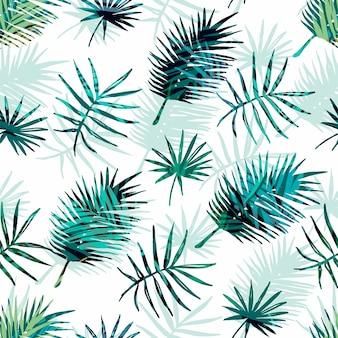Bez szwu egzotycznych wzorców tropikalnych liści palmowych.